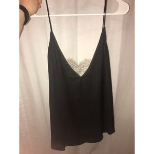 Free People Silkish material with lace insert
